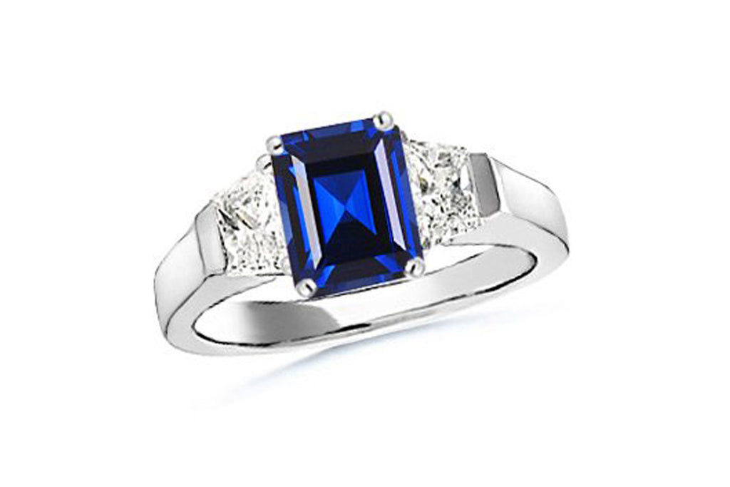 Lab Created Emerald Cut Sapphire and Trapezoid Diamond Three Stone Cathedral Ring
