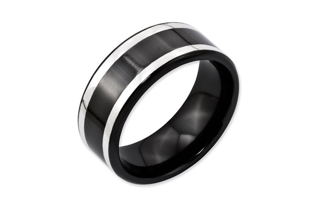 Titanium Black Ti with Sterling Silver Inlay 9mm Polished Flat Band