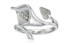 10K Gold Calla Lily Diamond Ring (1/10 Cttw, I-J Color, I2-I3 Clarity)