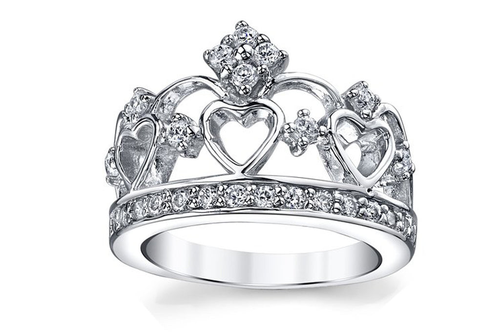 925 Sterling Silver Cubic Zirconia Princess Crown Tiara CZ Band Ring