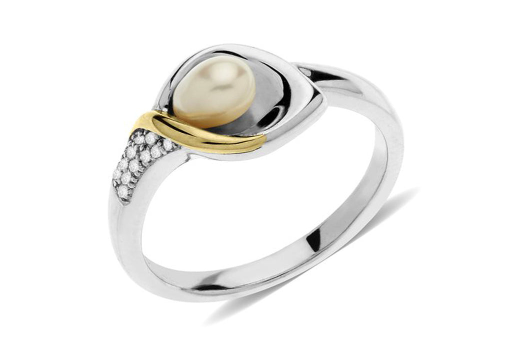 Sterling Silver and 14k Yellow Gold Freshwater Cultured Pearl and Diamond Calla Lilly Ring, Size 7