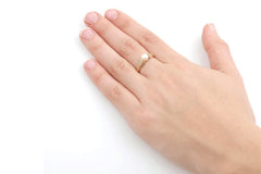 Antique Style Pearl 14K Gold Engagement Ring