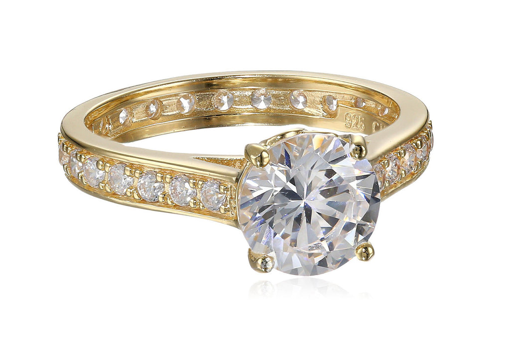 18k Yellow Gold-Plated Sterling Silver and Cubic Zirconia Ring, Size 7