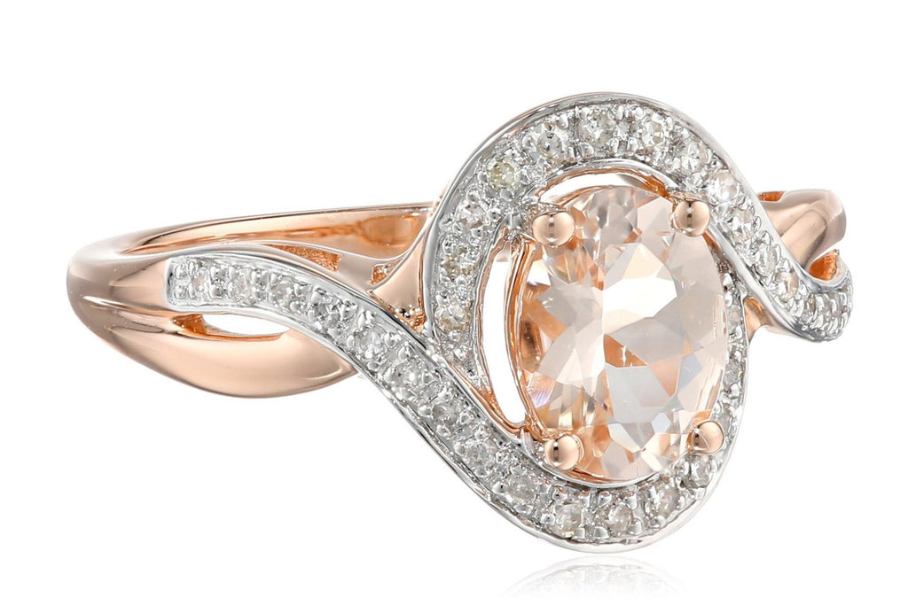 14k Pink Gold Morganite and Diamond (1/6cttw, H-I Color, I2-I3 Clarity) Oval Ring, Size 7