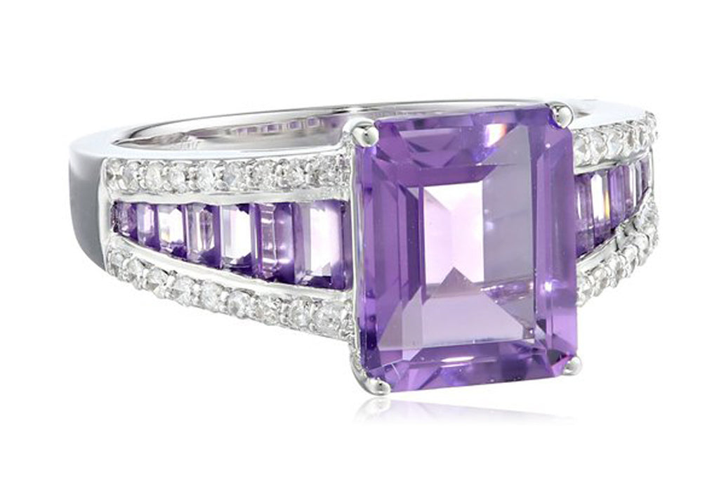 14k White Gold Amethyst and Diamond (1/5cttw, H-I Color, I2-I3 Clarity) Ring, Size 7