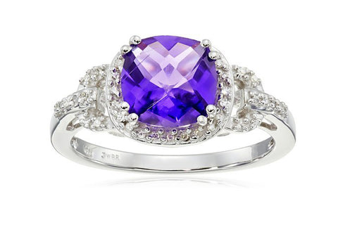 10k White Gold, Cushion-Cut Amethyst, and White Diamond Ring, Size 7