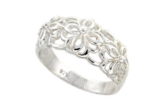 Sterling Silver Flower Ring Flawless Quality Finish 1/2 inch wide