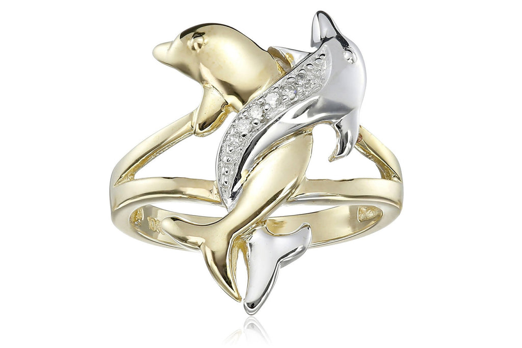10k Two Tone Gold Diamond Accent Intertwined Dolphin Ring