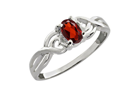 0.55 Ct Oval Natural Red Garnet 925 Sterling Silver Ring