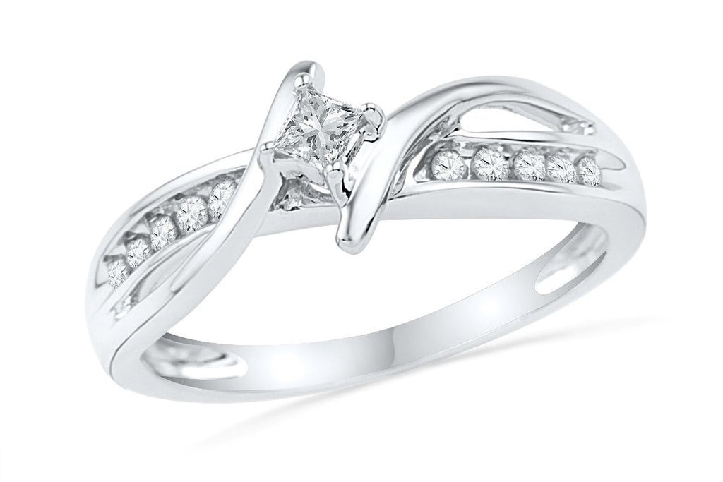 10KT White Gold Princess and Round Diamond Bypass Promise Ring (1/5 CTTW)