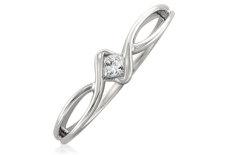 10k White Gold Princess-cut Diamond Promise Ring (1/10 cttw, H-I, I1-I2)