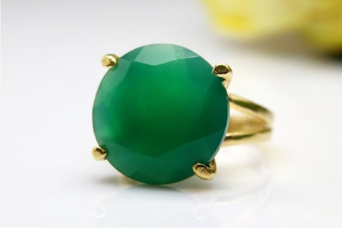 14k gold filled and green onyx ring