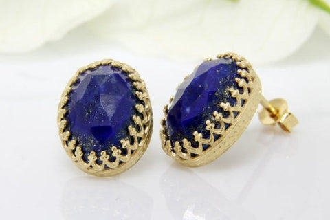 Gold lapis earrings
