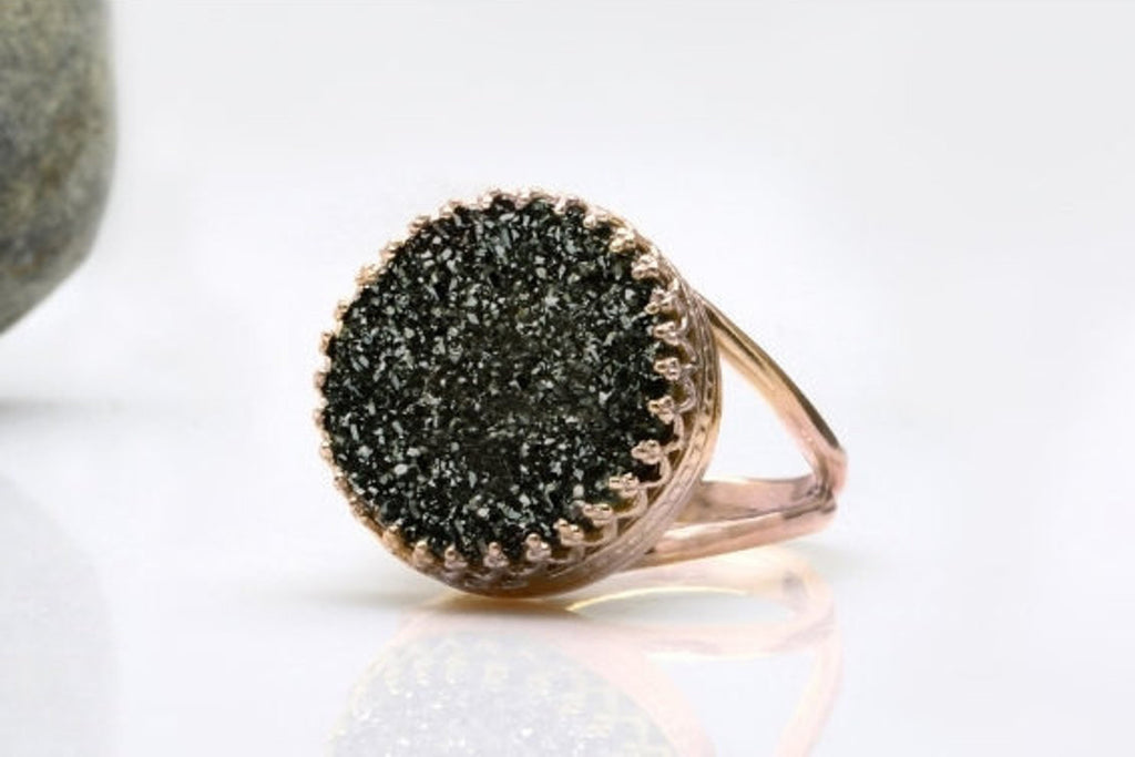 14k rose gold druzy ring