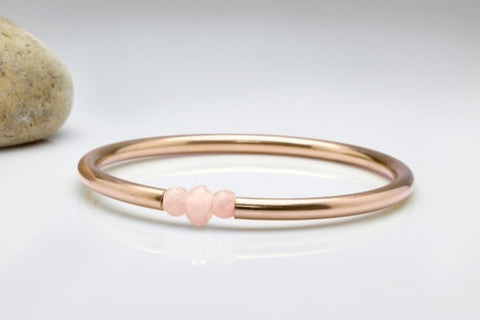 14k rose gold and rose quartz bracelet
