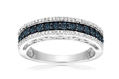 Sterling Silver Blue and White Diamond Anniversary Ring (1/10 cttw, I-J Color, I2-I3 Clarity)