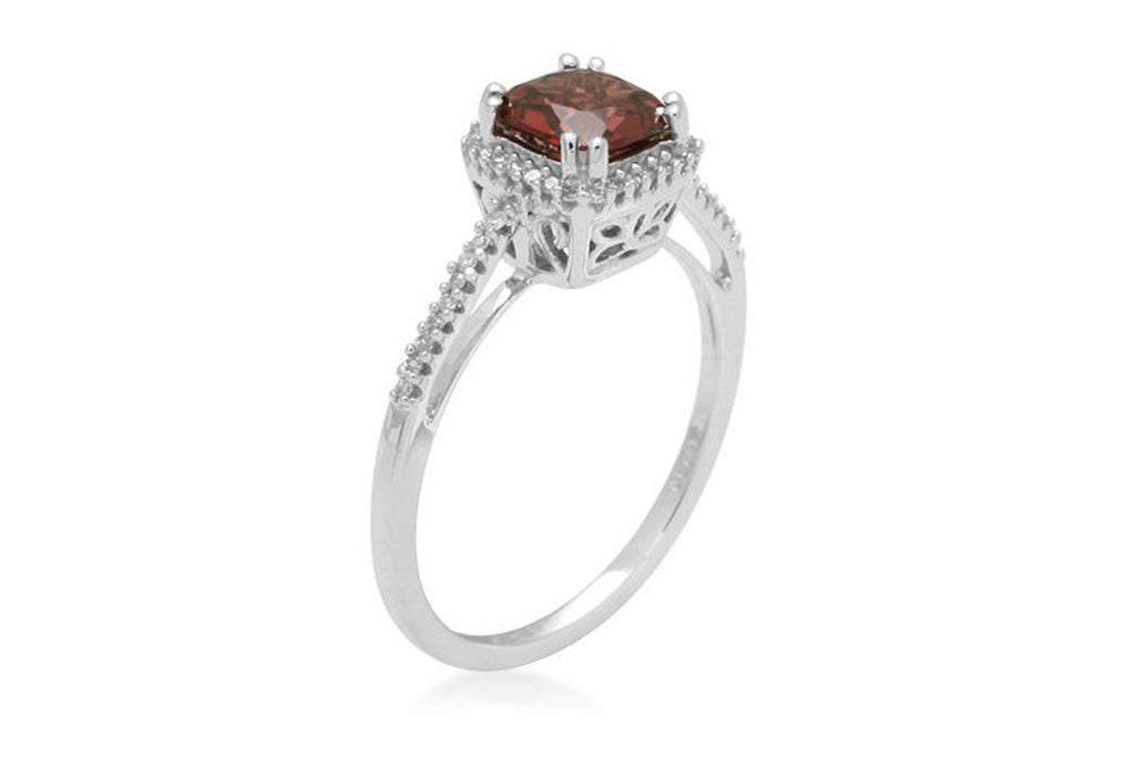 10k White Gold, January Birthstone, Garnet with Diamond-Accent Cushion Ring, Size 7