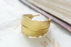 Adjustable Gold Feather Wrap Ring