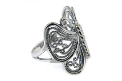 .925 Sterling Silver Ladies Ornamental Openwork Butterfly Ring