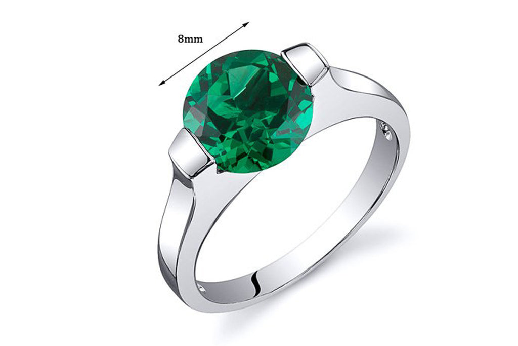 Bezel Set 1.75 carats Simulated Emerald Engagement Ring in Sterling Silver Rhodium Nickel Finish