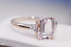 Emerald Cut 7x9mm Morganite Ring 14K Rose Gold Ring