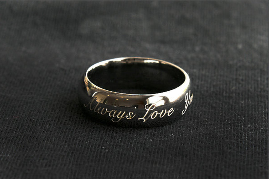 925 Sterling Silver with Black Ruthenium Plate 3-5 micron Stamped Ring