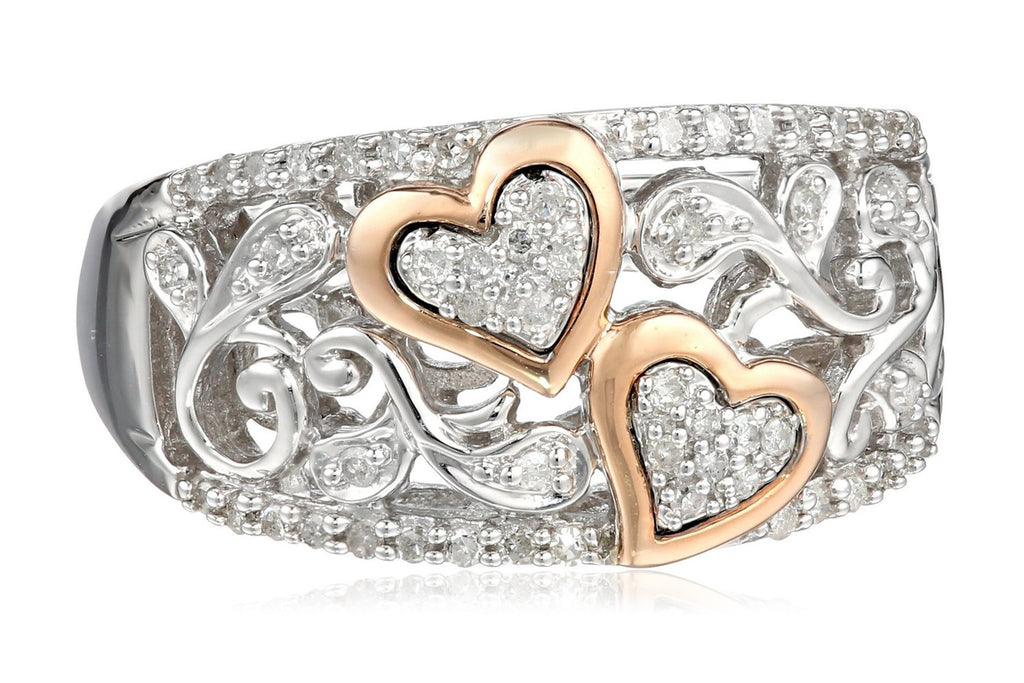 Sterling Silver and 14k Pink Gold Diamond Hearts Ring (1/4 cttw, I-J Color, I2-I3 Clarity)