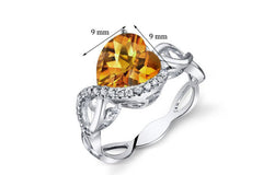 Peora 14K White Gold Heart Citrine Diamond Ring (2.33 cttw)