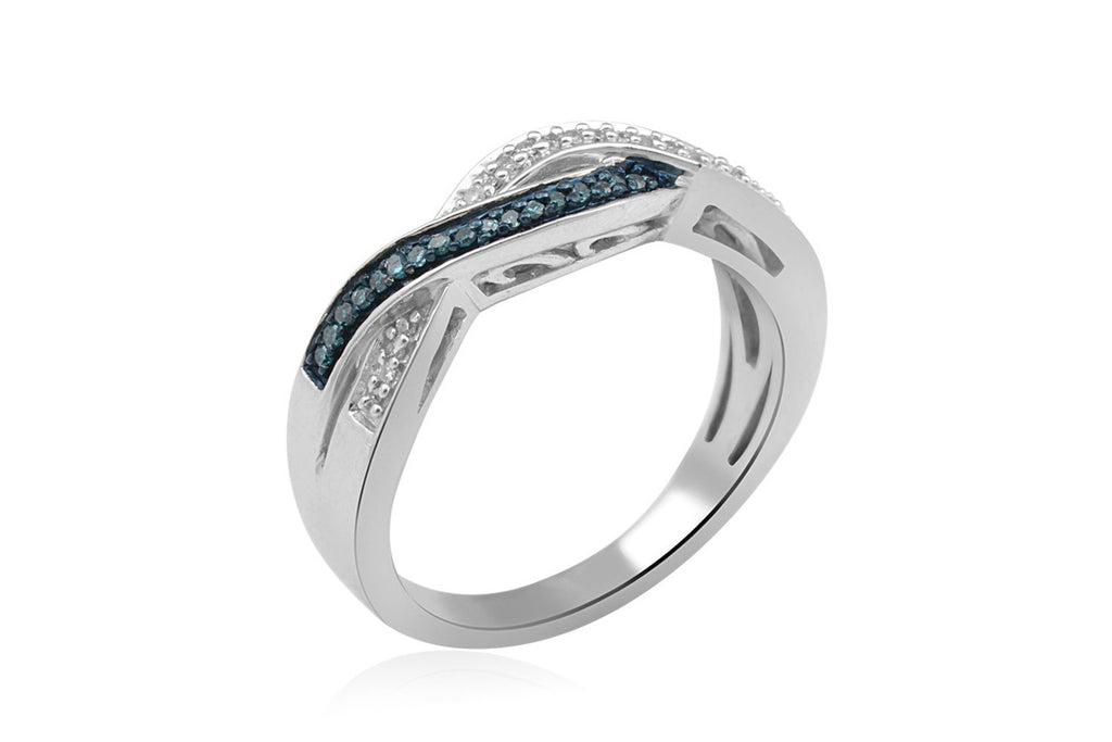 Sterling Silver Blue and White Diamond Twist Ring (1/10 cttw, I-J Color, I2-I3 Clarity)