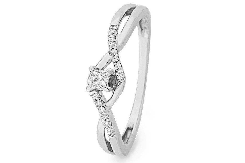 10KT White Gold Princess and Round Diamond Promise Ring (1/6 CTTW)