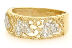 10k Solid Yellow Gold Filigree Leaf Design CZ Band Ring