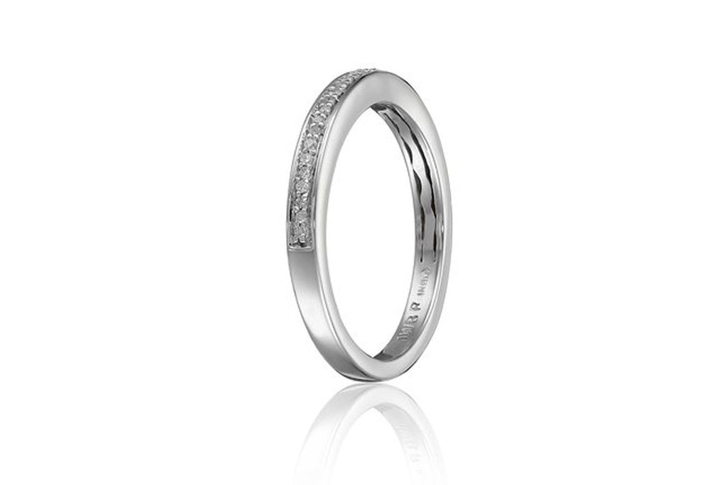 Sterling Silver Pave Diamond Wedding Anniversary Ring