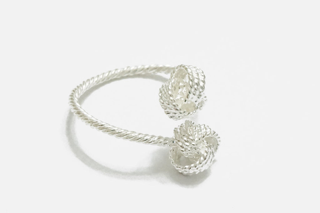 Silver knot adjustable ring