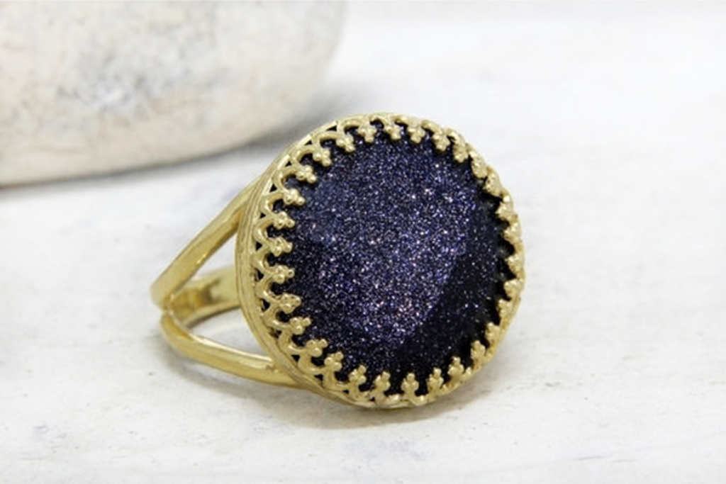 14k gold filled blue goldstone ring