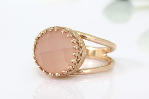 14k rose gold filled pink chalcedony ring