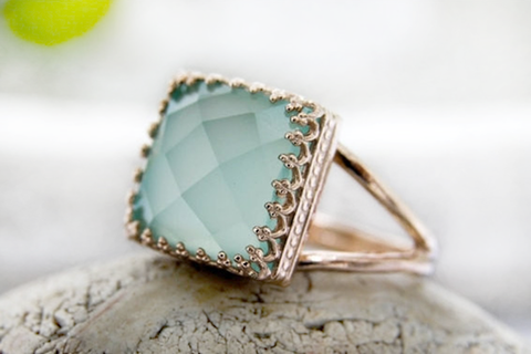14k rose gold filled Aqua Chalcedony Ring