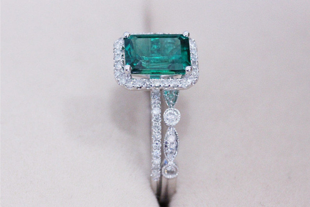 White Gold Emerald Engagement Ring