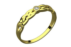 14K Gold Plated Silver Ring, CZ Stone, Celtic Trinity Knot