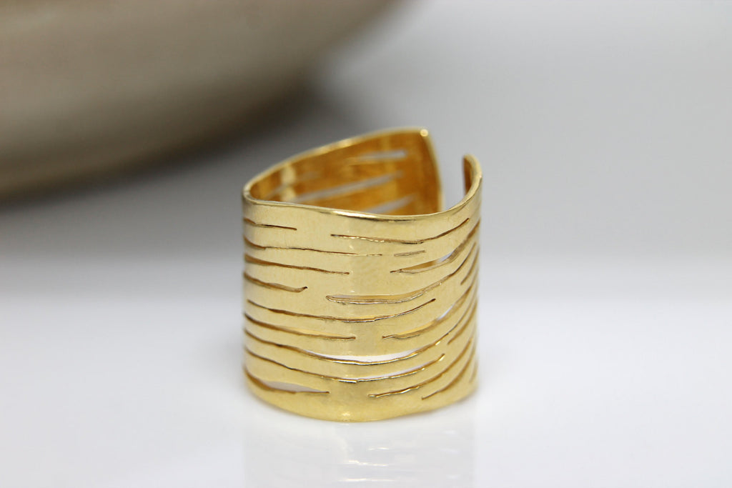 14k solid gold zebra ring