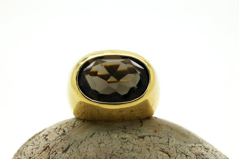 14k gold filled smoky quartz ring