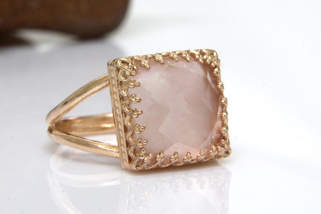 14k rose gold pink quartz stone ring