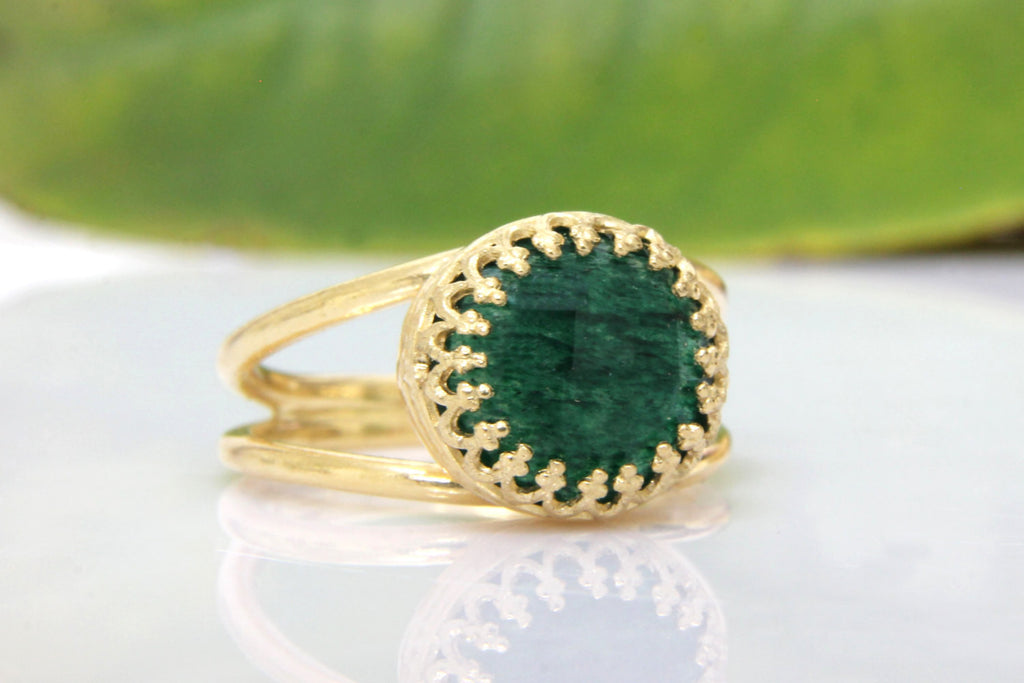 Agate emerald stone ring