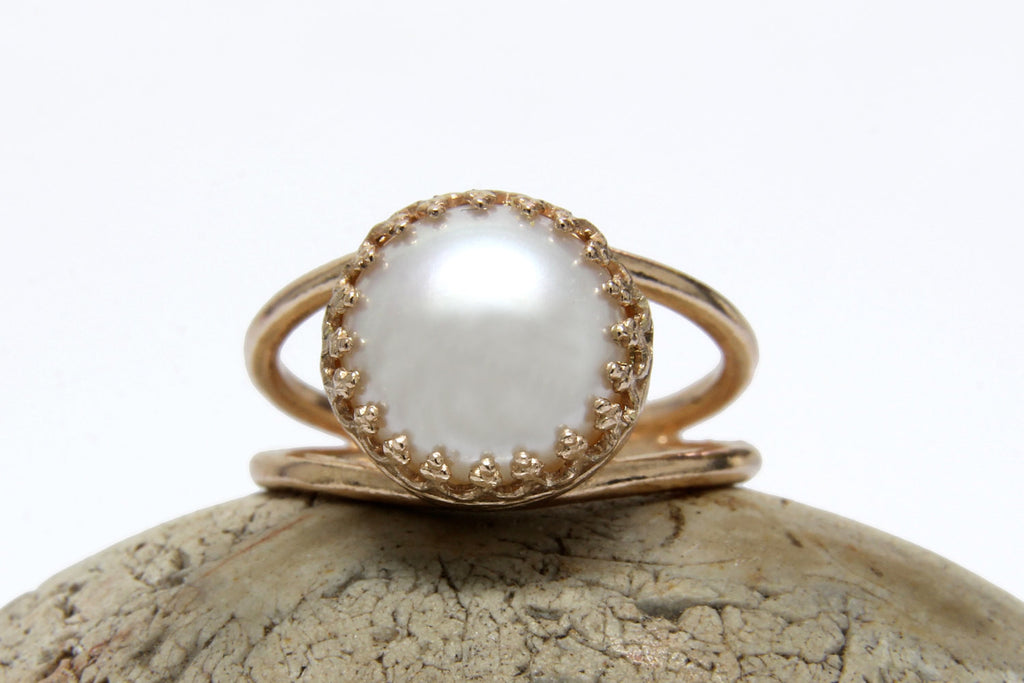14k rose gold filled white pearl ring