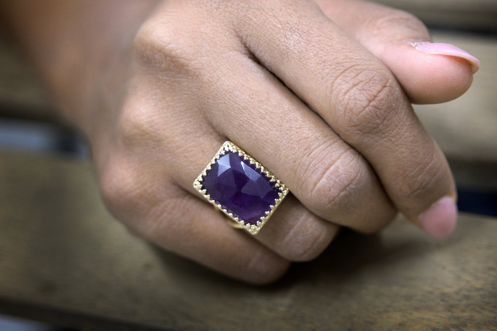 Amethyst (February birthstone) gold ring