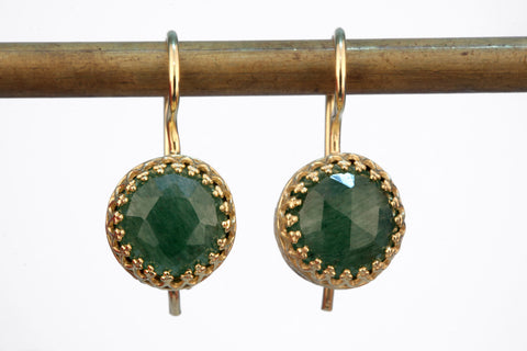 Dangle agate emerald earrings