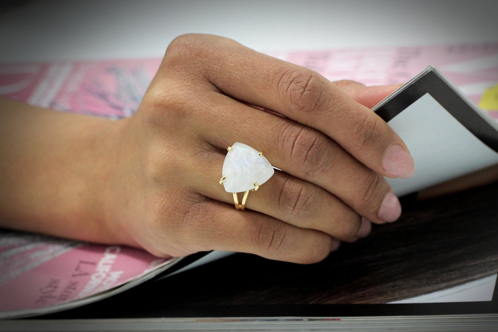 14k gold filled moonstone ring