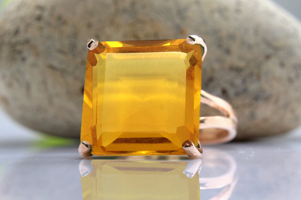 14k rose gold Citrine ring