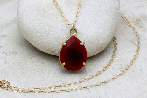 Teardrop red onyx necklace