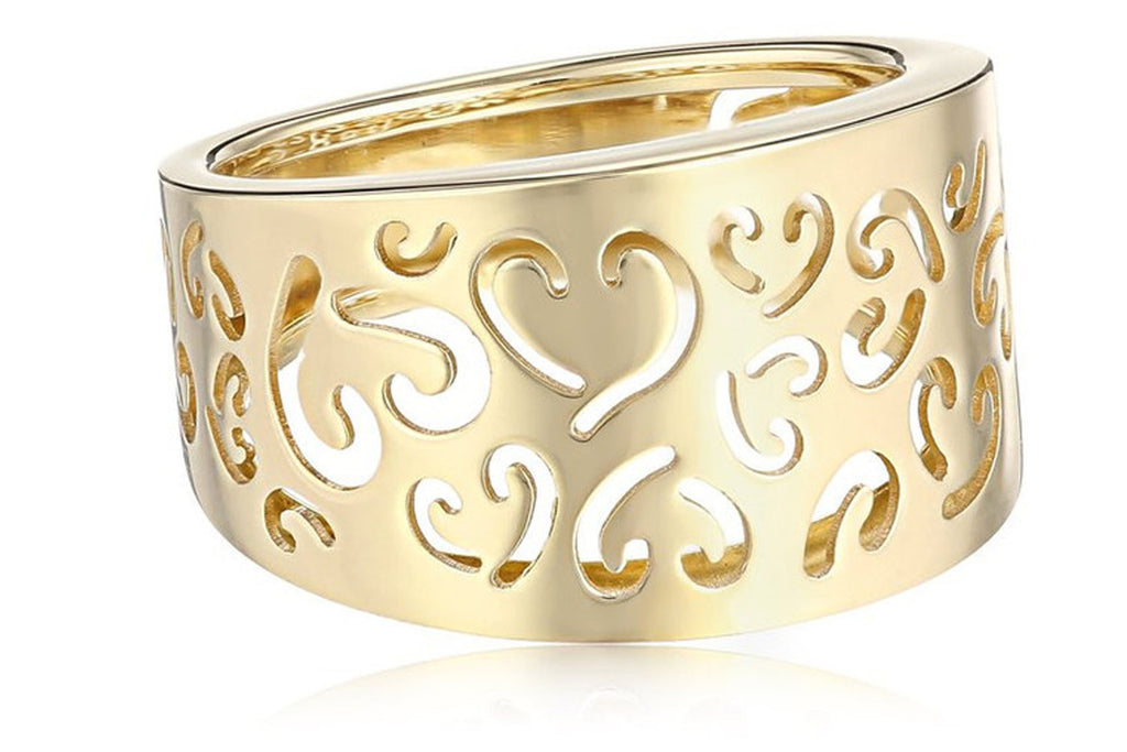 14k Yellow Gold Fancy Heart Ladies Ring, Size 7