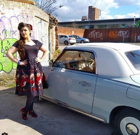 Miss Violet Loves Vintage in her Vanity Dress by a Vintage Car